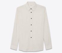 Oversize-Hemd aus gebrochen weißem Ethnic-Jacquardgewebe