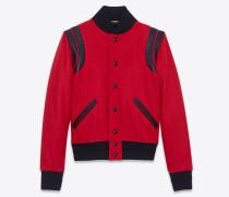 Varsity-Jacke aus roter Schurwolle