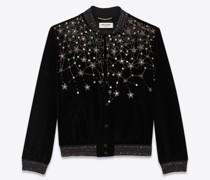 Ysl College-Jacke aus Besticktem Samt Schwarz