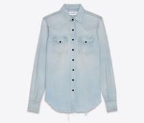 Destroyed Classic Western Shirt In Dirty  Denim Blau