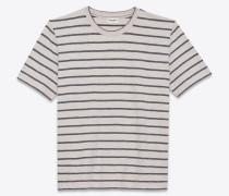 gestreiftes t-shirt aus grauem und weißem jersey