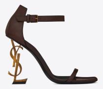 opyum 110 sandale aus braunem leder und goldfarbenem metall