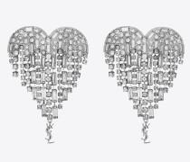 SMOKING Amor-Herz-Ohrringe aus Messing und weißen Kristallen