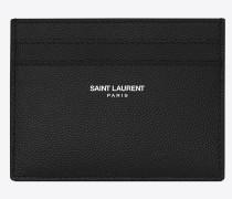klassisches saint laurent paris karten etui aus schwarzem leder mit grain de poudre struktur