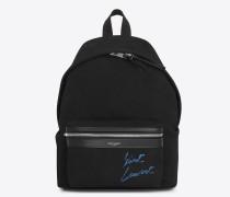 Mini City Rucksack aus schwarzem und blauem diagonalem Canvas mit Stickerei