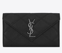 Großes COLLEGE-Portemonnaie aus schwarzem Leder mit Diamant-Matelassé-Nähten