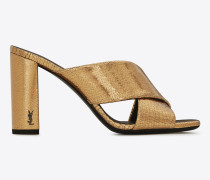 loulou 95 sandale mit überkreuzten riemchen aus bronzefarbenem metallic-leder