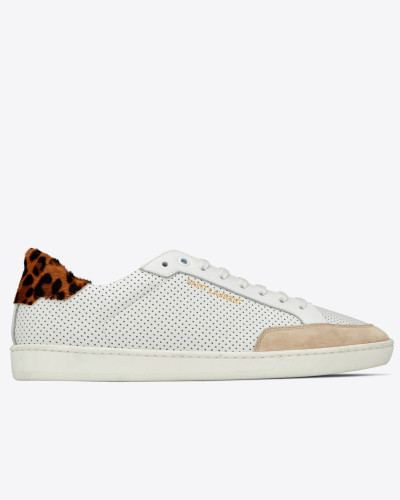COURT CLASSIC SL/10 sneakers in perforated leather and leopard-print suede