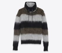 Pullover mit Hohlkragen aus schwarzem, grau meliertem und khakigrünem Mohair, Nylon und Wolle