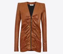 Minikleid aus cognacfarbenem Vintage-Leder mit quadratischer Schulterpartie und Rüschen