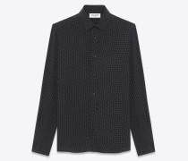 klassisches hemd mit yves-kragen aus schwarzer und weißer viskose mit aufgedrucktem mikropunktmuster
