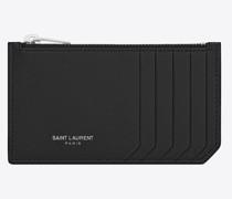 Geldklammer Kartenetui mit Reißverschluss aus Leder mit Grain-De-Poudre-Prägung Schwarz