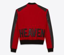 heaven varsity-jacke aus rotem filz und schwarzem leder