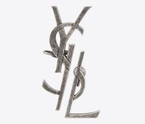 Monogram dekonstruierte Ohrringe aus antikisiertem, silberfarbenem Metall