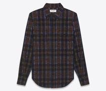 Classic Western Shirt In Checked Corduroy Schwarz