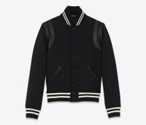 Teddy Jacket aus schwarzer Woll-Gabardine