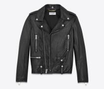 klassische bikerjacke aus schwarzem, weichem leder mit cargotaschen
