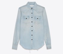 Westernhemd Im Distressed-Look aus Denim In Dirty  Blau