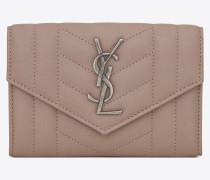 kleines monogram portemonnaie mit überschlag in rosa