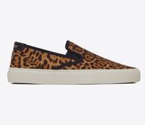 Venice Slip-On-Sneaker aus Canvas mit Leoparden-Print Bernstein