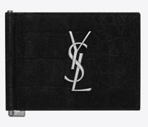 Monogram Portemonnaie mit Geldklammer aus Nubuk mit Krokoprägung Schwarz
