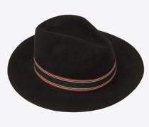 Panama-Hut aus Stroh mit Kontrastierendem, Gestreiftem Canvasband Schwarz