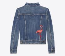 Jeansjacke aus tiefblauem, verwaschenem Denim mit Flamingostickerei