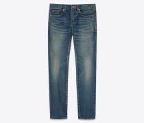Blaue Boyfriend-Jeans aus Stretch-Denim mit Sandwaschung