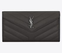 Großes LOULOU Portemonnaie aus asphaltgrauem Leder mit Y-Steppnähten und Klappe