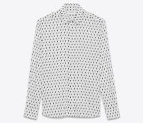 hemd aus weißem canvas mit ikatprint und yves-kragen