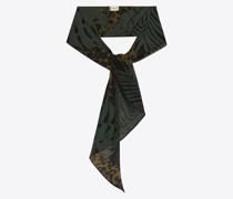 Lavallière-Schal aus Woll-Etamin mit Nächtlichem Dschungel-Leoparden-Motiv Grün