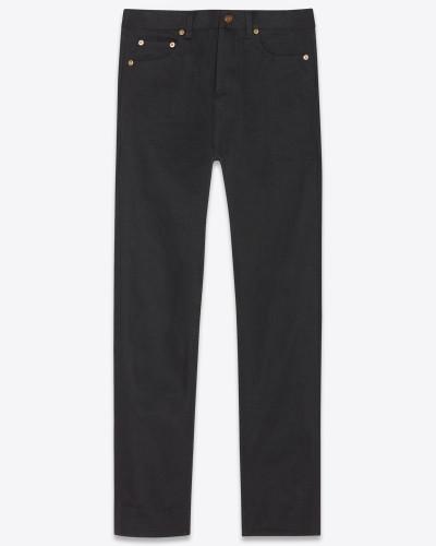 Straight-Cut-Jeans mit Aufschlag aus grobem schwarzem Denim