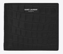 klassisches saint laurent paris east/west portemonnaie aus schwarzem leder mit krokodilprägung