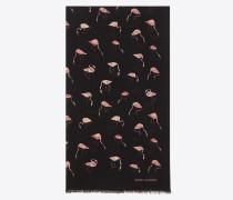 Schal aus schwarzem und pinkfarbenem Wolltwill mit Flamingoprint