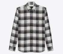 Oversize-Hemd aus weißer und schwarzer Baumwolle mit Karomuster
