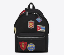 city rucksack aus schwarzem twill und leder mit patches