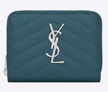 Kompaktes MONOGRAM Portemonnaie aus grünem Strukturleder