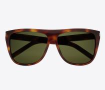 new wave 1 sonnenbrille mit glänzend hell- havannafarbenem   acetat-gestell und grünen gläsern