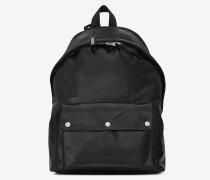 CITY Army-Rucksack aus schwarzem Moroder-Leder und Nylon
