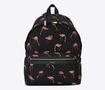 City Rucksack aus schwarzem und pinkem Nyloncanvas und schwarzem Leder mit Flamingoprint