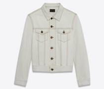 Taillierte Jeansjacke In Grau Off-White Weiß