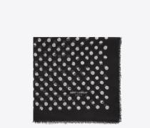 pois großer quadratischer schal mit schwarzem und elfenbeinfarbenem tupfen- und sternenprint