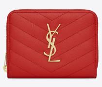 monogram compact zip around wallet in black grain de poudre textured matelassé leather