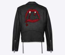 bikerjacke aus schwarzem, weichem leder und blood lusteraus roten und weißen perlen