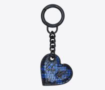 Herzförmiger Schlüsselbeutel aus schwarzer und blauer Ayers-Schlangenhaut