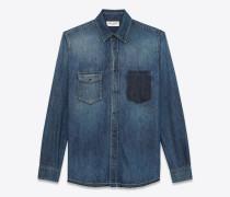 property of saint laurent oversize-hemd aus ausgebleichtem blauem denim