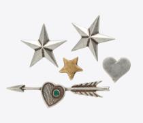 5er-Set ARMY-Pins aus altsilber- und altgoldfarbenem Messing und grünen Kristallen