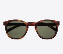 klassische 28 sonnenbrille mit glänzend havannabraunem acetat-gestell und grünen gläsern
