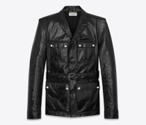 Safari-Jacke aus schwarz glänzendem Leder mit quadratischer Schulterpartie