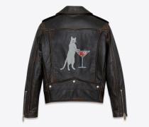 Klassische Bikerjacke aus schwarzem Leder mit Katzenprint